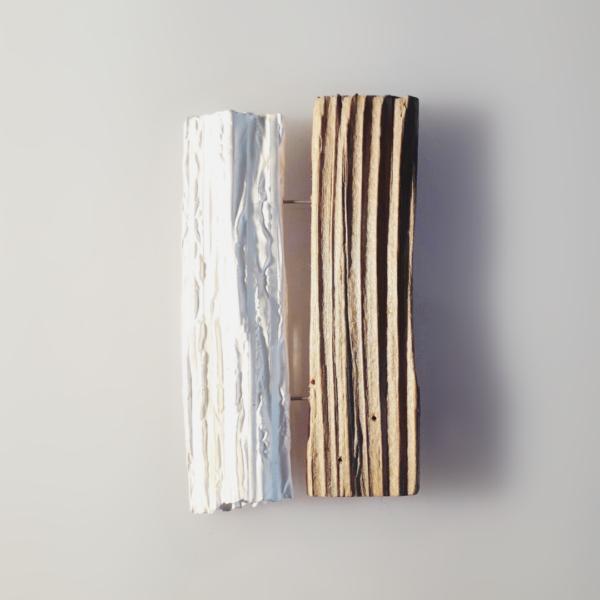 Carla Riccoboni, Double brooch, silver and wood, Thereza Pedrosa gallery, Asolo