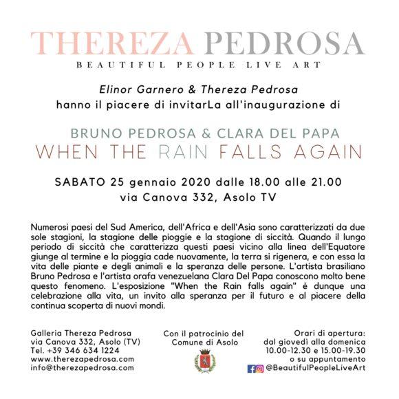 When the Rain falls again - Bruno Pedrosa and Clara Del Papa, Thereza Pedrosa gallery, Asolo